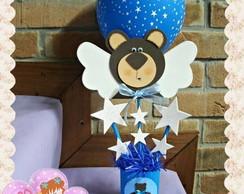 Centro de mesa Urso marrom e azul