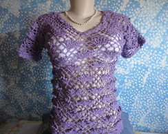 blusa croch� leque