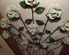 Quadro enfeite vaso de flor ferro