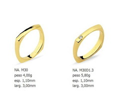 Par de Alian�as Quadradas - Ouro 18k