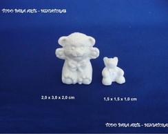 Ursinhos  3d (par)- Aplique Em Resina