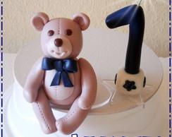 Ursinho com vela_topo De Bolo