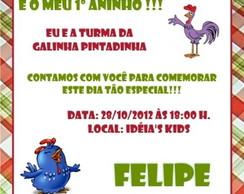Convite Galinha Pintadinha - Xadrez
