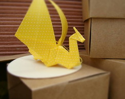 drag�o-cart�o amarelo origami tecido