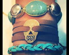 Mix Skull - Brown & Turquese(3 pulseiras