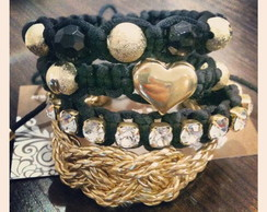 Mix Black & Gold Heart(4 pulseiras)