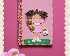 Caderno pequeno menina cabelo cacheado