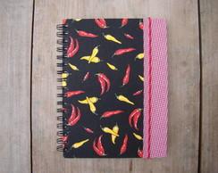 caderno pimentinhas + borda xd vermelho