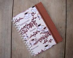 caderno cappuccino + borda marrom po�s