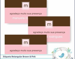 20 Etiquetas Retangular Marrom Com Rosa