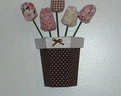 Cachepot de parede com tulipas