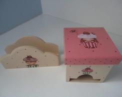 porta ch� com porta guardanapo cupcake