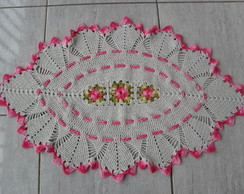 Tapete oval leques rosa