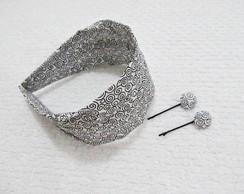 tiara faixa e grampinho com bot�o forrad
