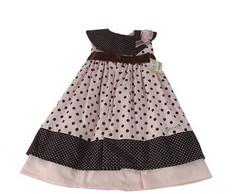 Vestido Infantil rosa e marrom 26D13E