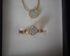conjunto de colar corrente anel