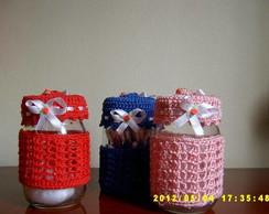 vidros decorados em croch�