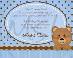 Convite Urso Marrom e Azul 10x15