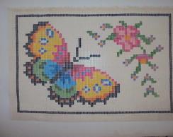 tela borboletas com flores