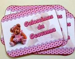 R�tulo marmitinha ursinha marrom e rosa