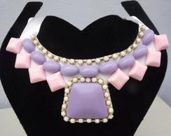 Maxi colar lil�s e rosa