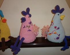 Peso De Porta - Galinha Rosa Crochet