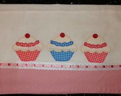 Pano de copa com cupcake em patchwork