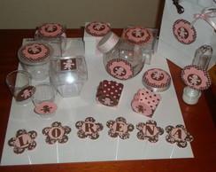 Festa marrom e rosa - motivo menina