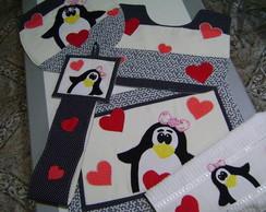 Jogo De Banheiro Em Patchwork - Pinguins