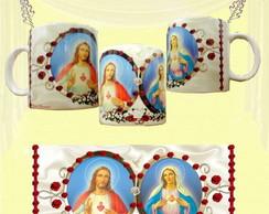 Caneca Sagrado Cora��o de Jesus e Maria