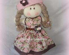 Boneca Marrom com rosa florida com 40cm