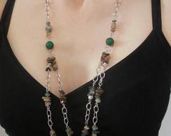 Colar de Jade Verde e Jaspe Indiano