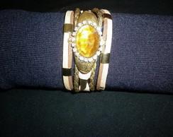Pulseira / Bracelete entremeio dourado