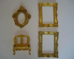 Conjunto de espelhos dourados