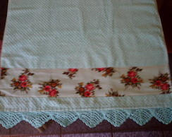 Toalha de Banho azul com estampa floral