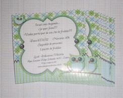 Convite Corujinha verde e azul