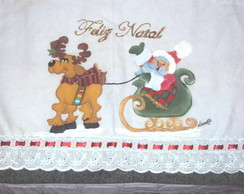Pano De Prato Papai Noel Tren�
