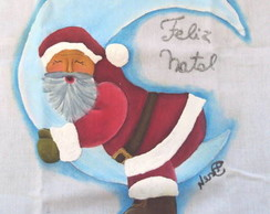 Pano De Prato Papai Noel na Lua