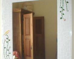 Espelho mosaico ramos folhagens p�ssaros
