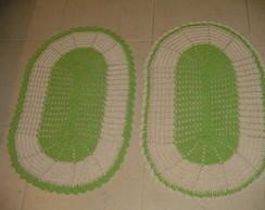 Tapete De Croch� Oval Cru Com Verde