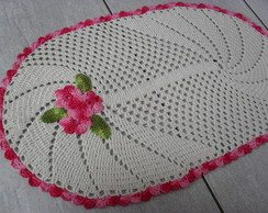 Tapete Barbante Oval Com Flores