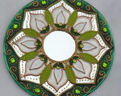 Mandala l�rio da Paz em espelho de 15cm