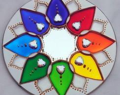 Mandala 8 P�talas em espelho de 15cm
