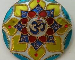 Mandala OM Vermelho Azul Amarelo