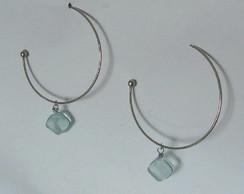 Brinco argola prata e vidro cristal