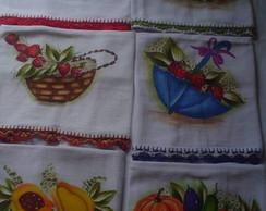 Pano de prato de sacaria pintado sortido
