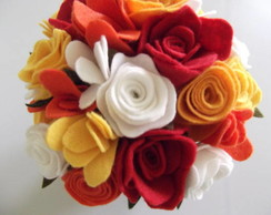 Vaso com flores em feltro - COLORIDAS