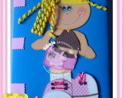 caderno menina marrom e rosa