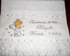 toalha para batizado anjo prata