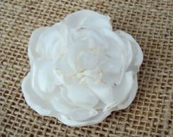 Presilha C�cile Com Flor De Cetim Branca